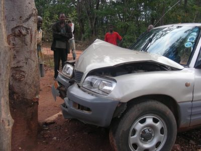 Wrecked car doesn't stop JESUS film team
